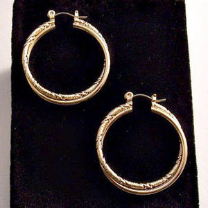 Avon Double 27mm Hoop Pierced Stud Gold Earring